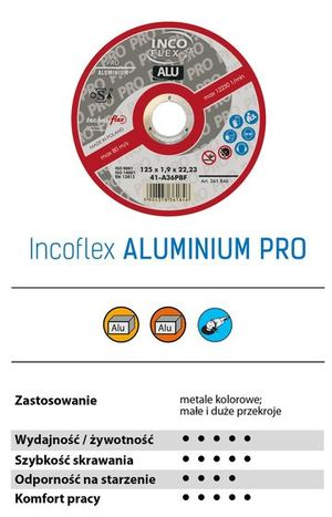 TARCZA DO CIĘCIA ALUMINIUM 125 x 1.0 INCO FLEX 1